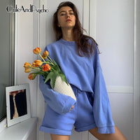 Casual Women Tracksuit Two Piece Set Oversize Sweatshirts and Shorts Sportswear Outfit Solid y2k Set Summer Autumn Cuteandpsycho - Creative Dreamscape