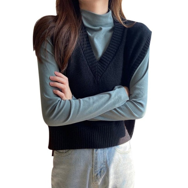 Autumn Women Sweater Korean Womens Elegant Student V-neck Pullover Loose Casual Knitting Tops Outerwear Vest - Creative Dreamscape