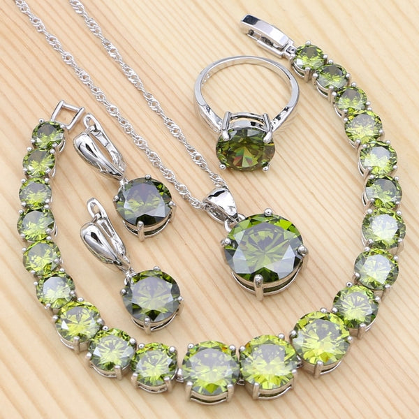 925 Sterling Silver Jewelry Sets For Women Olive Green Cubic Zirconia Ring Pendant Bracelet Necklace Earrings Set - Creative Dreamscape