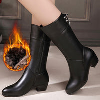 Rubber boots for women Black PU Leather 2020 Women's shoes Mid-Calf Boots Non Slip Design Spring Winter shoes - Creative Dreamscape