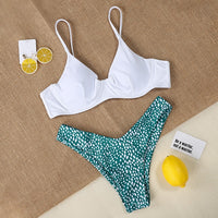 Polka dot Bikini 2019 underwire Bra swimsuit Woman bandeau swimwear female sexy bikini set push up brazilian bathing suit swim - Creative Dreamscape