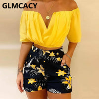 Women Off Shoulder Ruched Top & Tropical Print Shorts Set Two Piece Summer Beach Suits - Creative Dreamscape