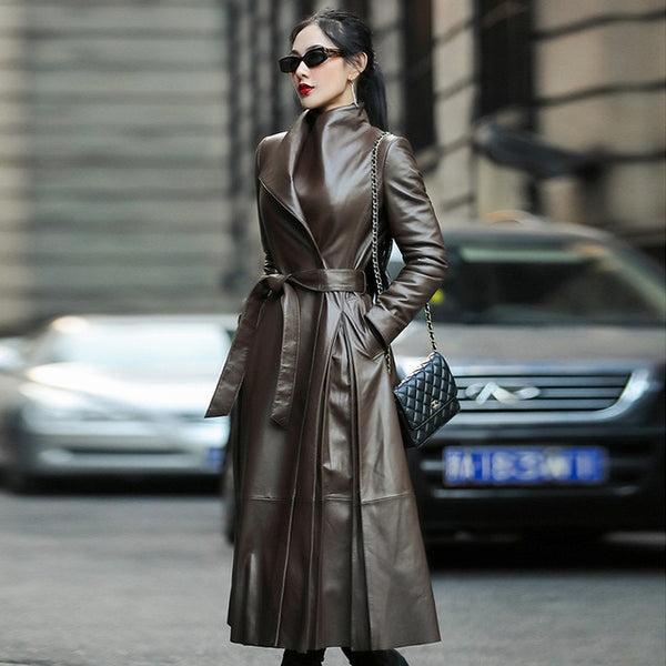 Nerazzurri Autumn long leather trench coat for women belt long sleeve skirted faux leather coat women plus size fashion 2020 7xl - Creative Dreamscape