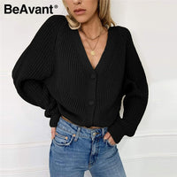 BeAvant Sexy v-neck knitted women cardigan Casual buttons bat sleeve white sweater cardigan Elegant autumn ladies sweaters tops - Creative Dreamscape