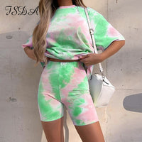 FSDA Women Set Summer Tie Dye Short Sleeve Top Shirt Loose And Biker Shorts Casual Two Piece Set Streetwear Outfits Tracksuits - Creative Dreamscape