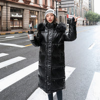 women X-long oversize blue down jackets thick casual with fur epaulet 2020 winter female down coats hooded solid piumini donna - Creative Dreamscape