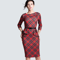 Spring Autumn Women Elegant Red Tartan Plaid Ruffle Ruched Office Work Business Casual Party Pencil Sheath Dress HB267 - Creative Dreamscape