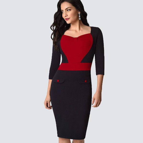 Autumn Women Elegant Work Office Business Patchwork Bodycon Dress Casual Contract ColorBlock Sheath Fitted Lady Dress HB369 - Creative Dreamscape