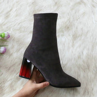 Sexy Pointed Toe Over The Knee Women Boots Stretch Flock High Heel Women Shoes Autumn Winter Fashion Boots Size 34-43 - Creative Dreamscape