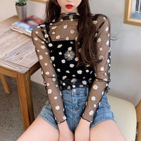 Korean Style Mesh Top Daisy Under Shirt 2020 New Harajuku Aesthetic Cute Lace Flower T shirt Long Sleeve Mesh Top Dropshipping - Creative Dreamscape