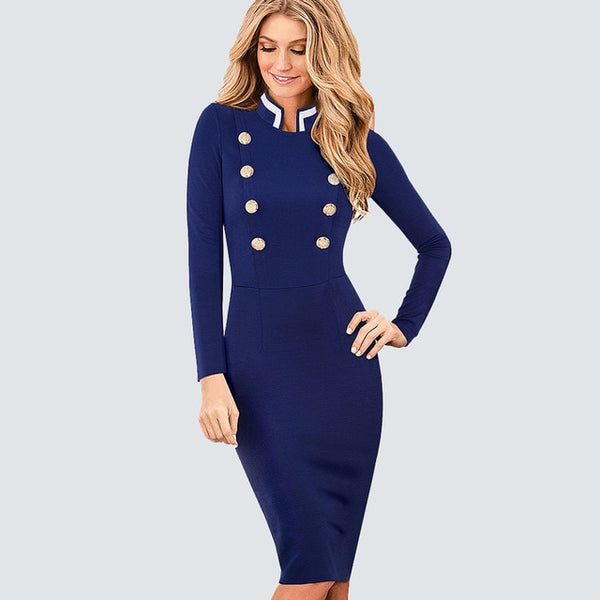 Casual Work Business Office Ladies Dresses Women Vintage Long Sleeve Double-Breasted Buttons Bodycon Autumn Winter Dress HB410 - Creative Dreamscape