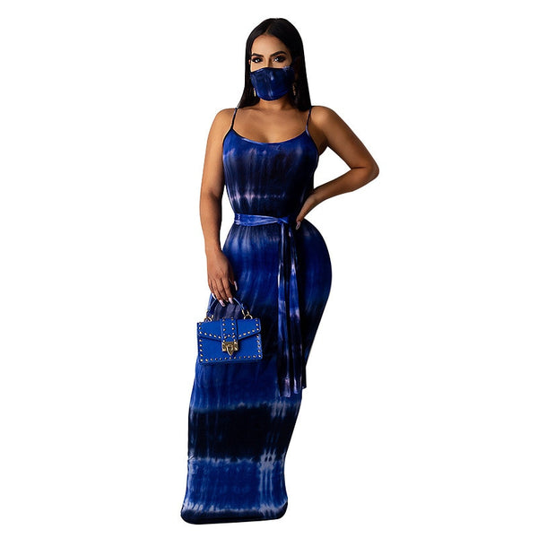 Spaghetti Strap Backless Long Maxi Dress With Mask - Creative Dreamscape
