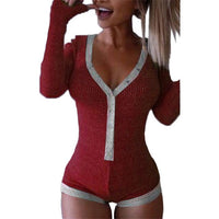 Bodysuit Women New Sexy Body Lady V Neck Long Sleeve Bodycon Jumpsuit Buttons Casual Pink Patchwork Knit Cotton Bodysuits M0598 - Creative Dreamscape