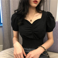 2020V Collar Sexy T-shirt Women Fashion Puff Sleeve Female Short Tops Slim Plus Size Black White Tees Women's Clothing - Creative Dreamscape