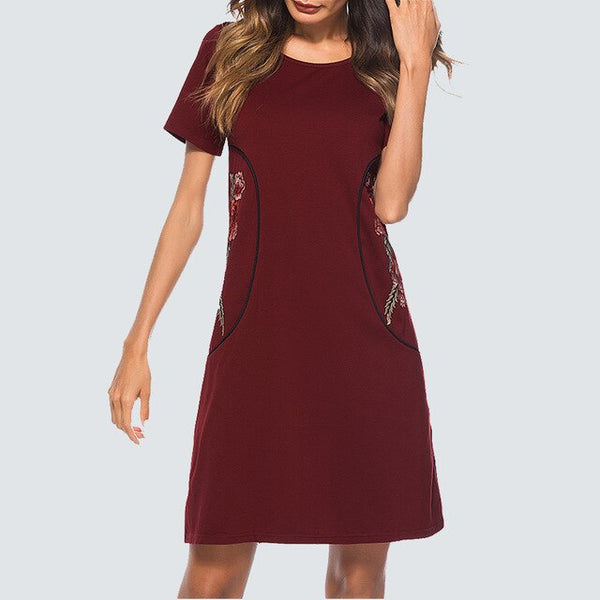 Women Casual Brief Solid Color Shift Dress Elegant Wine Embroidered Short-Sleeve Straight Summer Lady Dress HT034 - Creative Dreamscape
