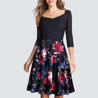 Women Vintage Retro Floral Print Spring Party Dress Casual Sheath Swing A-line Dress HA075 - Creative Dreamscape