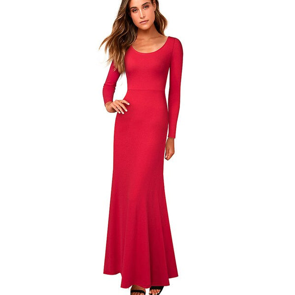 Nice-forever Elegant Pure Color Sexy Backless Long Sleeve Dresses Party Women Flared Long Maxi Dress 113 - Creative Dreamscape