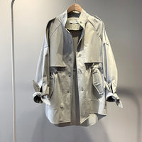 Fashion Trench Coat Female Autumn Windbreaker Drawstring Casual Loose Safari Clothes Stand Collar 2020 Spring Women Short Trench - Creative Dreamscape