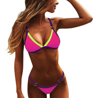 Neon Blue Low Waist Bikinis Set Swimsuit Women Hot Summer O-ring Straps Swimwear Push Up Brazilian Bathing Suit - Creative Dreamscape