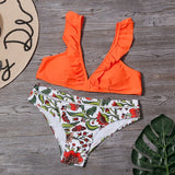 Sexy Ruffle Bikinis Women Plant Print Swimwear Low Waist Bikini Set Backless Bathing Suit Summer Beachwear Female Biqiuni - Creative Dreamscape