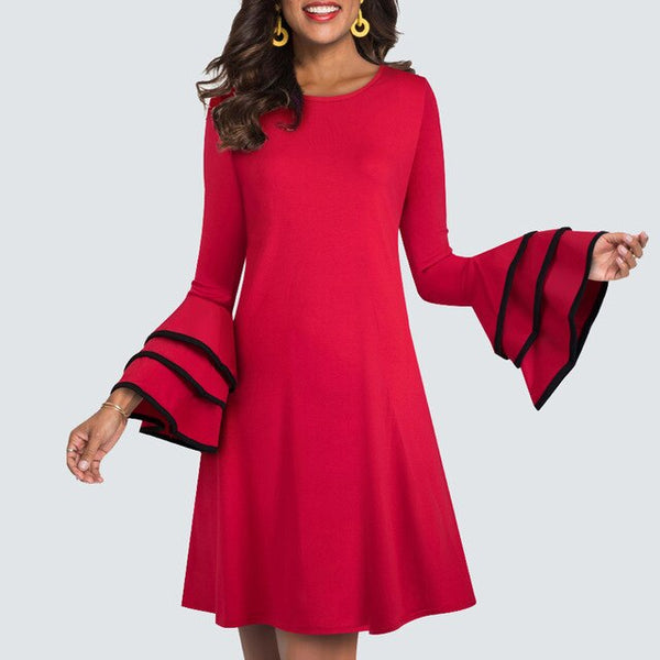 Women Casual Brief Solid Color Shift Dress Elegant Vintage Ruffle Flare Sleeve Straight Lady Dress HT020 - Creative Dreamscape