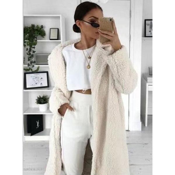Faux Fur Teddy Coat Women Autumn Winter 2020 Casual Plus Size Long Jacket Female Thick Warm Outwear Oversize Fur mujer chaqueta - Creative Dreamscape
