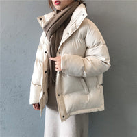 fashion solid women's winter down jacket stand collar short single-breasted coat preppy style parka ladies chic outwear female - Creative Dreamscape