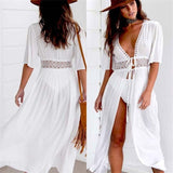 3XL Plus Size Beach Long Maxi Dress Women Beach Cover Up Tunic Pareo White V Neck Dress Robe Swimwear Bathing Suit Beachwear - Creative Dreamscape