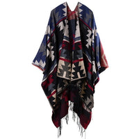 Hodisytian 2020 New Fashion Spring Autumn Women Cloak Poncho Wool Cashmere Capes Shawl Cloak Clasp Vintage Geometric Print Scarf - Creative Dreamscape