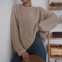 Autumn Oversized Sweater Women Solid Loose Knitted Sweaters Women Long Sleeve Pullover Female Jumper Female Knitwear - Creative Dreamscape