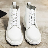 Soft Split Leather Women White Ankle Boots Motorcycle Boots Female Autumn Winter Shoes Woman Punk Motorcycle Boots 2020 Spring - Creative Dreamscape