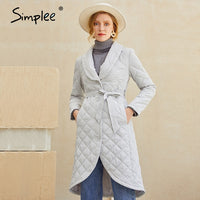 Simplee Long straight winter coat with rhombus pattern Casual sashes women parkas Deep pockets tailored collar stylish outerwear - Creative Dreamscape