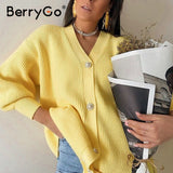 BerryGo Casual v-neck knitted kimono cardigan women Autumn winter lantern sleeve button female cardigan 2020 Streetwear sweaters - Creative Dreamscape