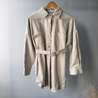 toppies 2020 vintage corduroy jacket coat womens oversized long coat cotton shirt jacket belt waist - Creative Dreamscape