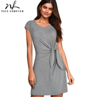 Nice-forever Causal Pure Color with Knot Short Dresses Straight Shift Women Dress A212 - Creative Dreamscape