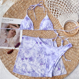 Peachtan Tie dye bikini 2020 Skirted swimsuit women High cut 3 piece suit halter swimwear female Triangle bathing suit Backless - Creative Dreamscape