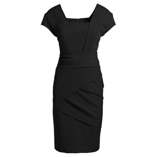 Nice-Forever Elegant Retro Square Neck Black Office Dresses Business Formal Bodycon Sheath Women Dress BTY689 - Creative Dreamscape