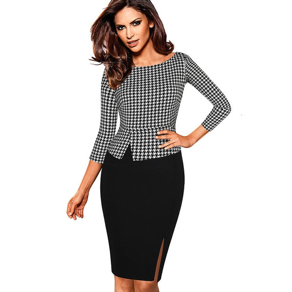 Nice-forever Autumn Retro Houndstooth Patchwork Office Dresses Business Bodycon Fitted Women Dress btyB562 - Creative Dreamscape