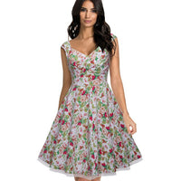 Nice-forever 1950's Retro Floral Mesh Pin UP Ball Gown Cocktail Party Flared Formal Women Swing Dress A003 - Creative Dreamscape