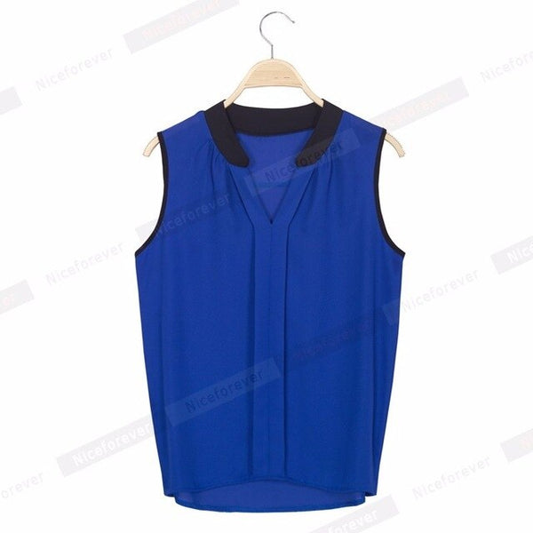 Nice-Forever Summer Sleeveless Chiffon Sleeveless T-shirts Casual Women Loose Tees Tops B200 - Creative Dreamscape