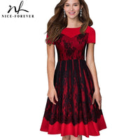 Nice-forever Elegant Black Lace Patchwork Dresses Celebrity Party Women Flared Dress A022 - Creative Dreamscape