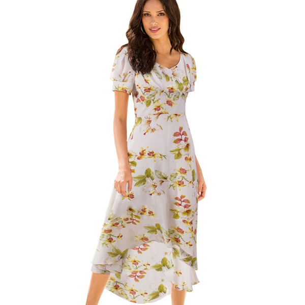 Nice-forever Summer Bohemian Beach Floral Printed Dresses Casual Maxi Long Women Dress btyB308 - Creative Dreamscape