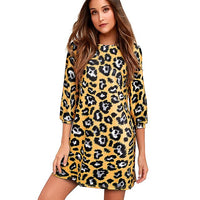 Nice-forever Fashion Leopard Printed Casual Dresses Straight Shift Loose Women Autumn Dress MY019 - Creative Dreamscape