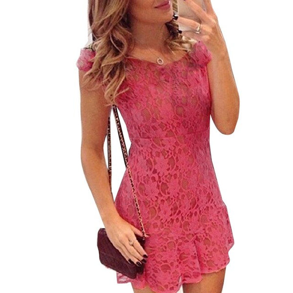 Nice-Forever Elegant Pink Lace Mermaid Dresses Bodycon Women Party Dress btyB33 - Creative Dreamscape