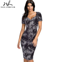 Nice-forever Summer Elegant Floral Printed Office Dresses Business Bodycon Women Dress btyB317 - Creative Dreamscape