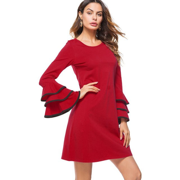 Nice-forever Autumn Vinatge Red Color with Trumpet Sleeve Dresses Casual Straight Shift Loose Women Dress T020 - Creative Dreamscape