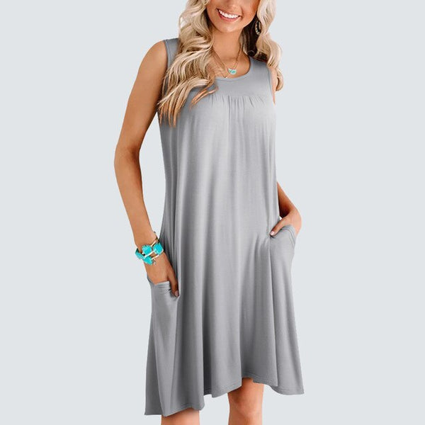 Summer Brief O neck Casual Daily Dress Solid Color Sleeveless Straight Loose Dress HA219 - Creative Dreamscape