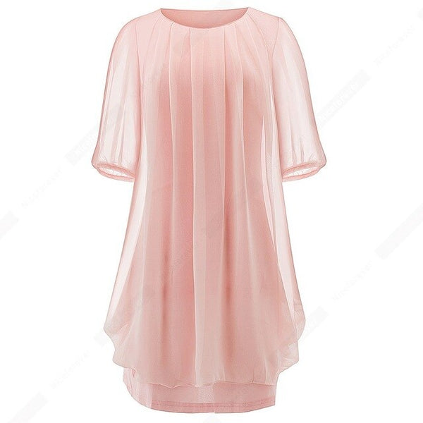 Casual Summer Chiffon Elegant Dress Women Round Neck Loose Straight Brief Dress H334 - Creative Dreamscape