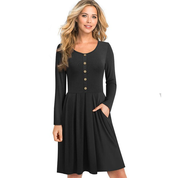 Nice-forever Winter Basic Pure Color Long Sleeve with Button Dresses Women Casual Flared Dress btyA168 - Creative Dreamscape