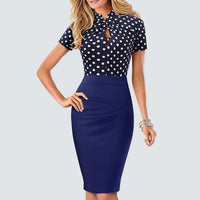 New Summer Office Lady Elegant Slim Little sexy Patchwork Dress Vintage Business Casual Pencil Dress HB430 - Creative Dreamscape
